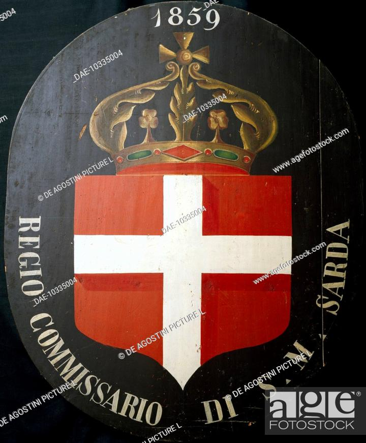 Stock Photo: The first Italian coat of arms raised in Lombardy, May 25, 1859, painting over an Austrian coat of arms. Italy, 19th century.