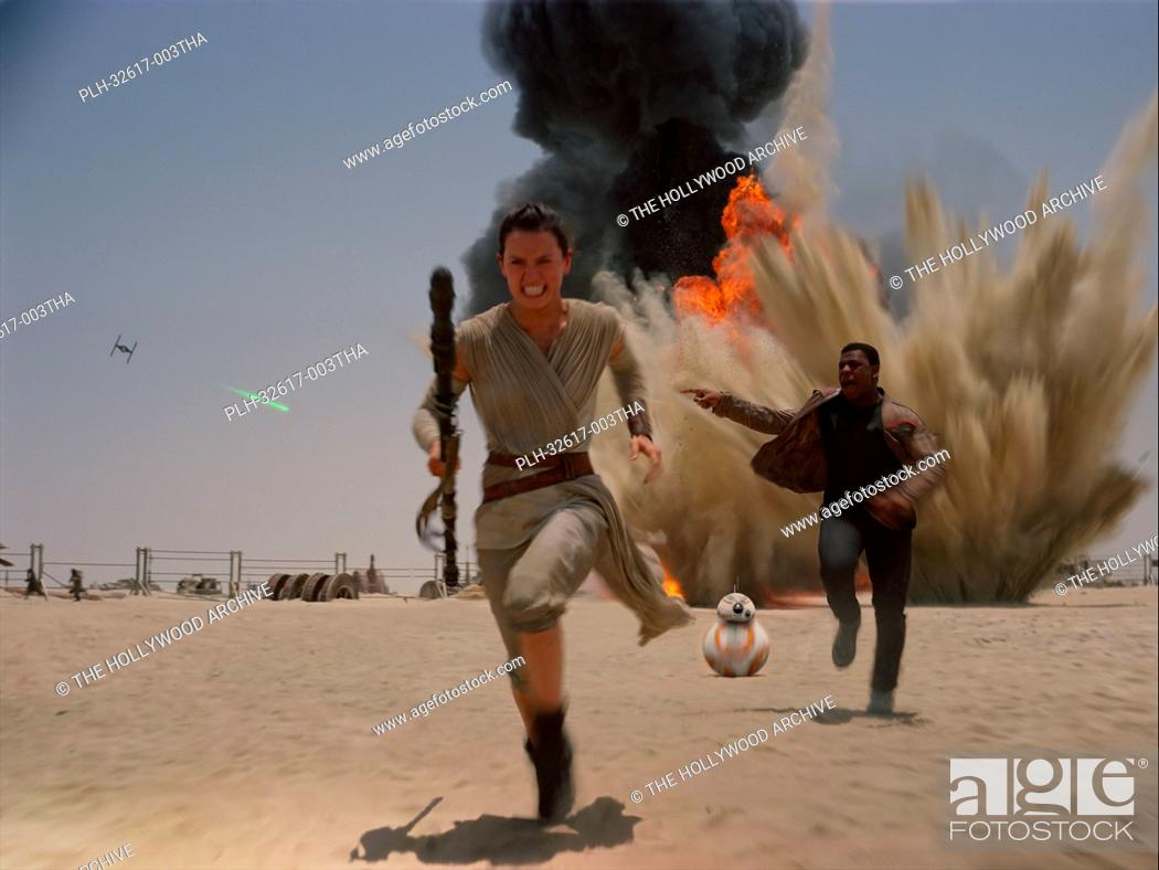 Stock Photo: John Boyega and Daisy Ridley in Star Wars: Episode VII - The Force Awakens (2015) © Lucasfilm 2015.