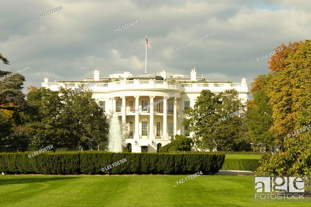 Stock Photo: Washington DC USA, the White House, home of the US President at 1600 Pennsylvania Avenue.