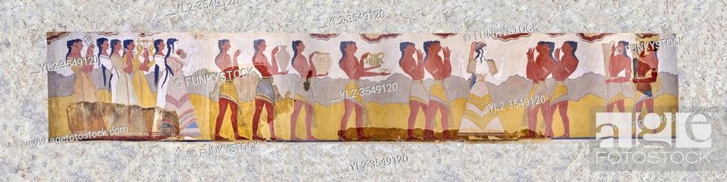 Stock Photo: The Minoan 'Procession Fresco', wall art from the South Prpylaeum, Knossos Palace, 1500-1400 BC . Heraklion Archaeological Museum. .