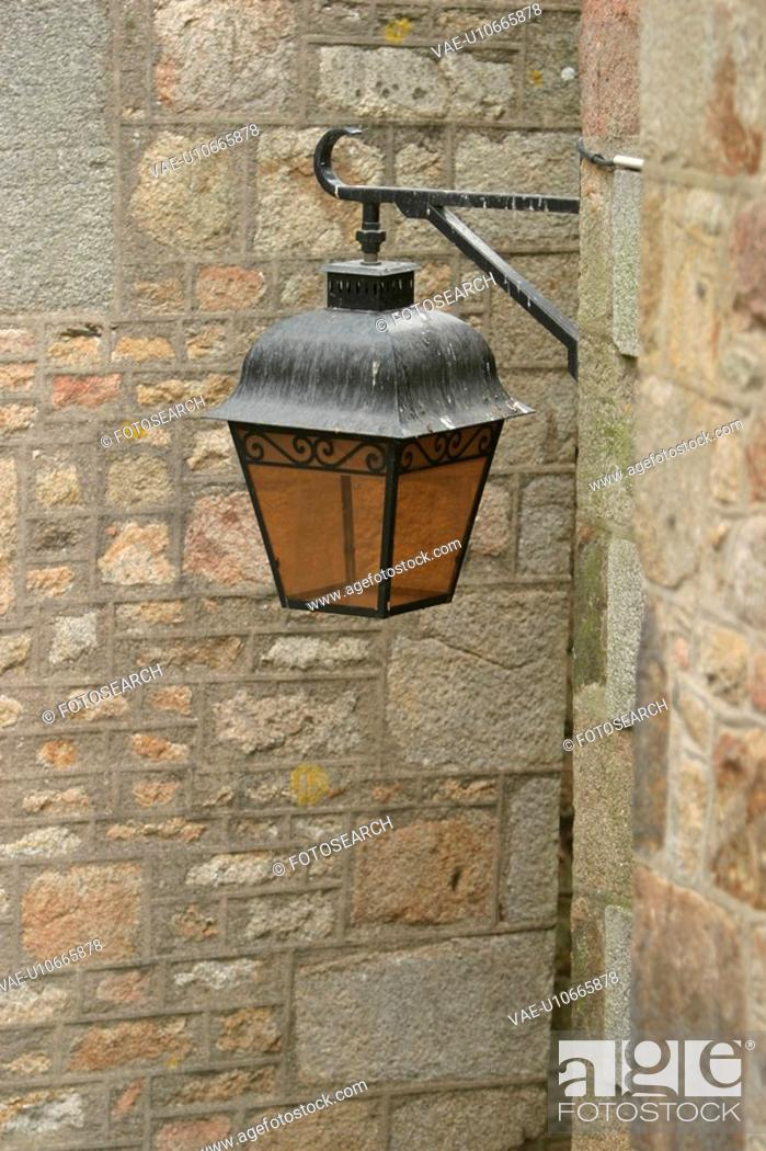 Stock Photo: Building, Iron, Lamp Post, Lantern, Metal.