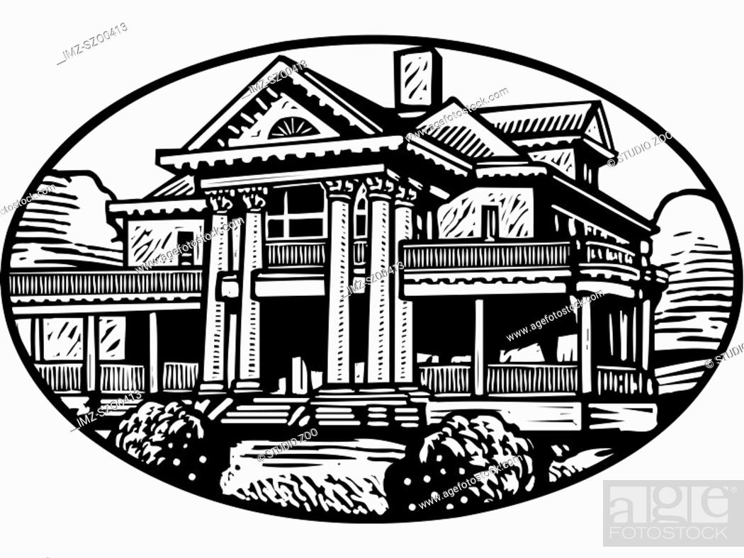 Stock Photo: An black and white illustration of a colonial mansion.