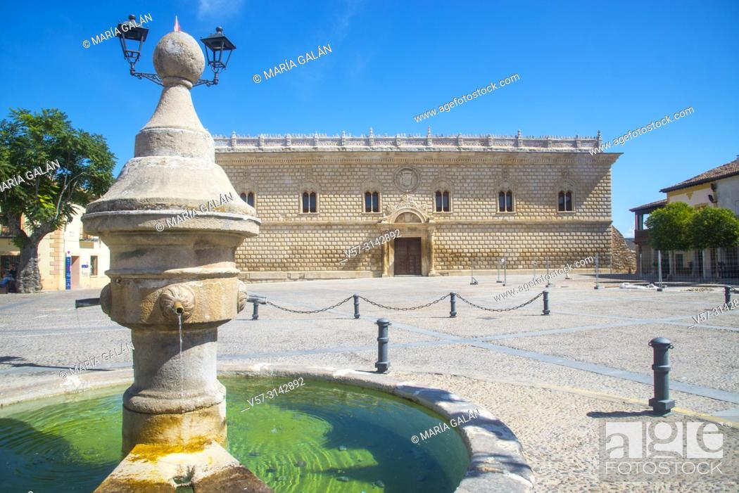 Stock Photo: Fountain and Ducal Palace. Plaza Mayor, Cogolludo, Guadalajara province, Castilla La Mancha, Spain.