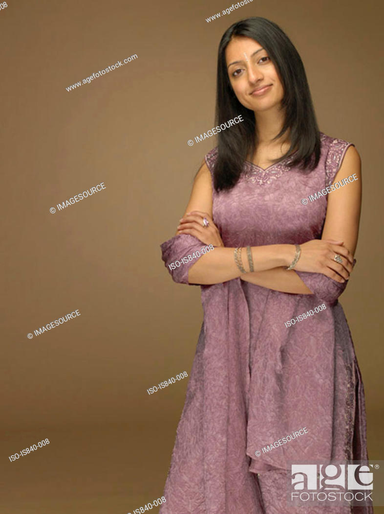 Stock Photo: Woman wearing a sari.