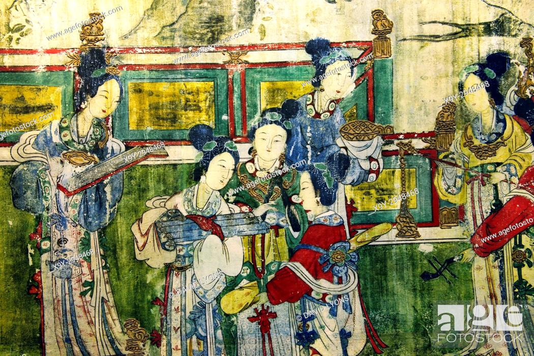 Stock Photo: Song Dynasty. Mural detail showing female musicians. From the Holy Mother Hall aka Temple of the Goddess of the Jinci Temple, Taiyuan, Shanxi, China.