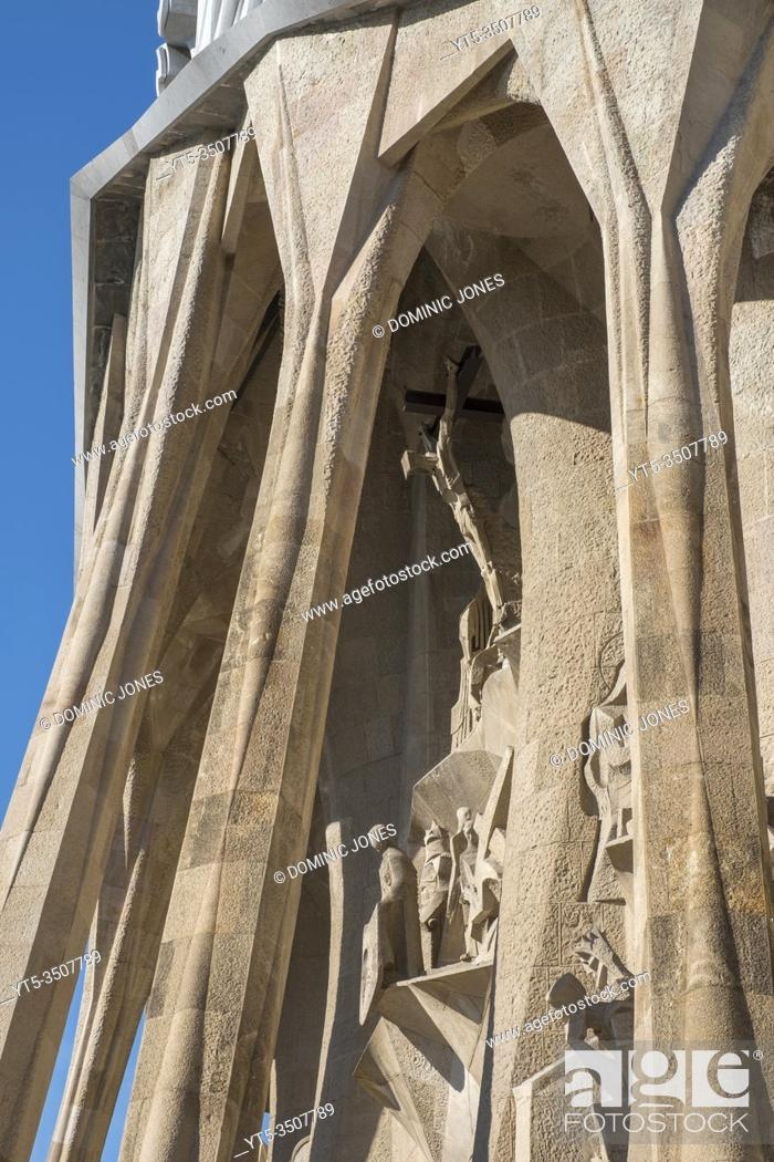Stock Photo: The Passion Facade of Barcelonaâ. . s Sagrada Família.