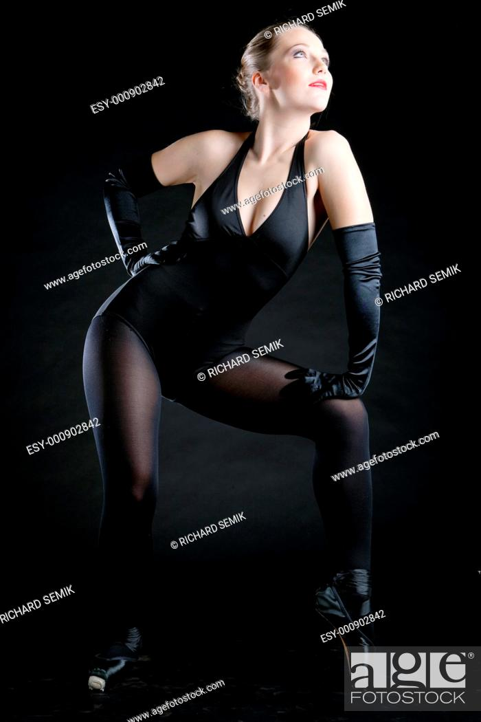 Stock Photo: ballet dancer in black clothes.