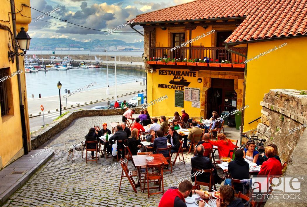 Stock Photo: Restaurante Mercante, Terrace, Cimadevilla, Gijon. Asturias. Spain, Europe.