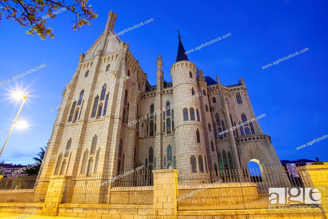 Stock Photo: Episcopal Palace designed by Antonio Gaudi in Astorga, Way of St. James, Leon, Spain.