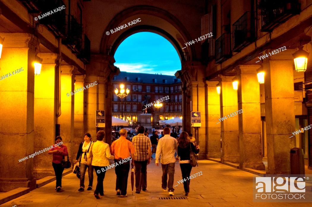 Stock Photo: People going towards Plaza Mayor, Madrid, Spain.