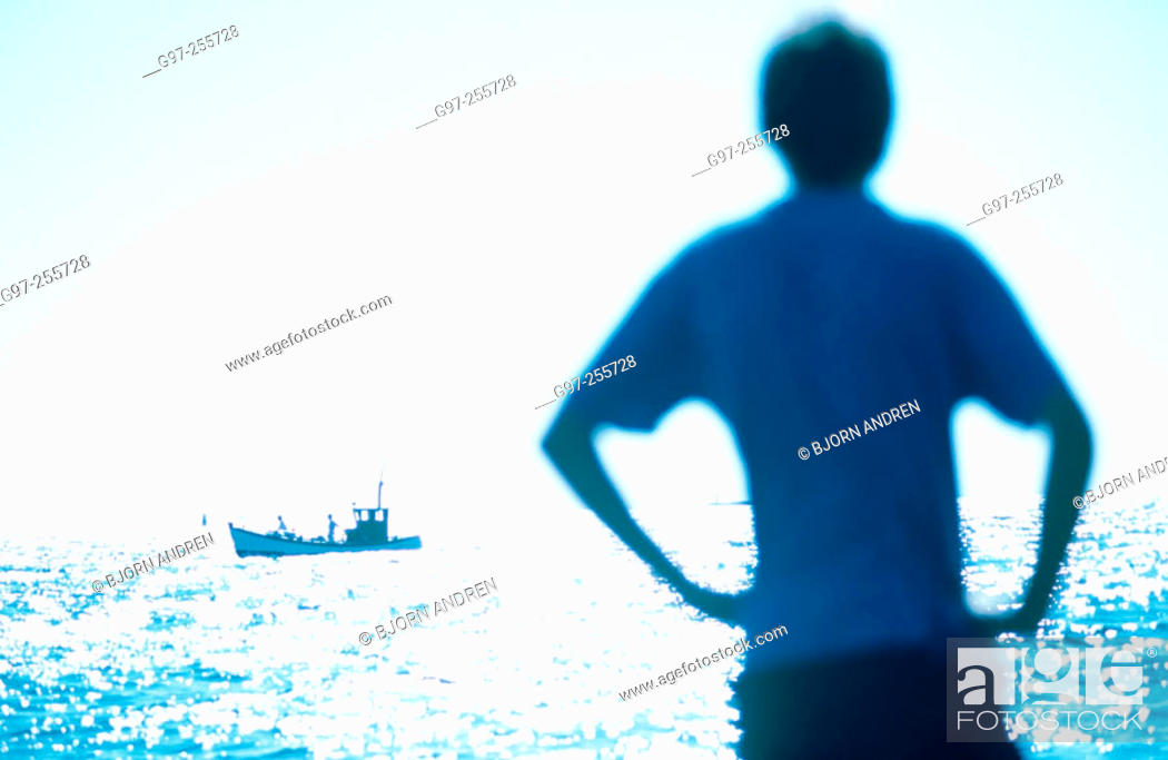 Stock Photo: Blue silhouette and boat.