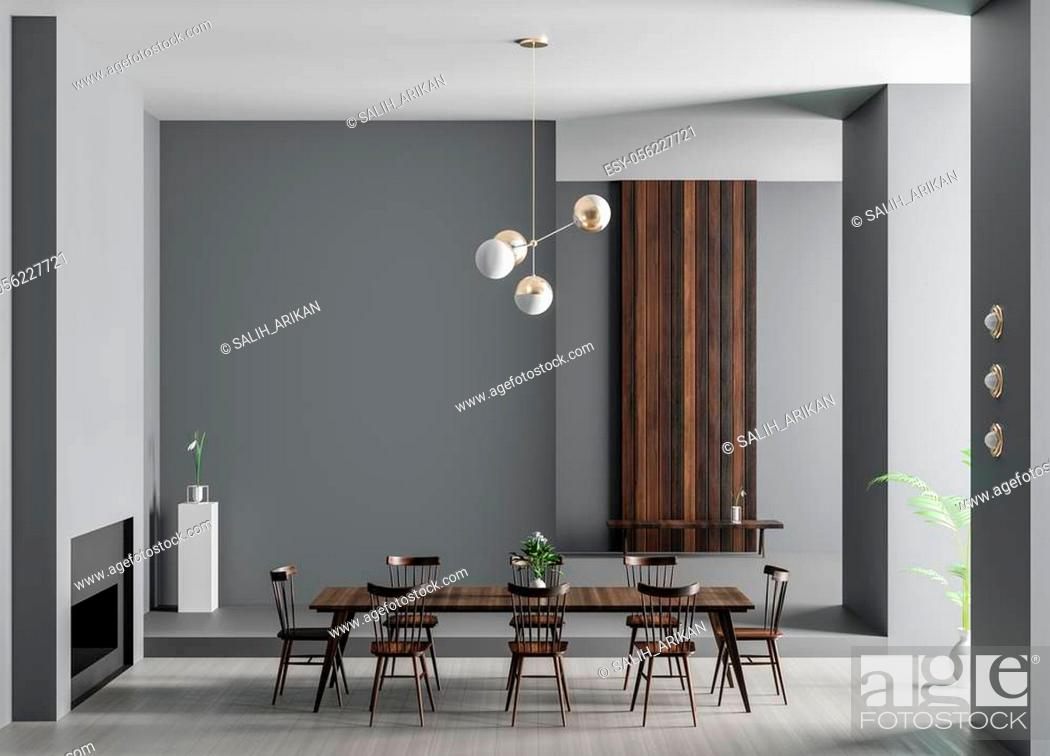Stock Photo: Spacious luxury dining room with fireplace. Minimalist modern dining room design. 3D illustration.