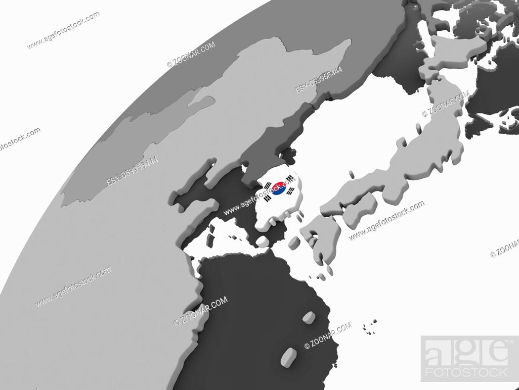 Stock Photo: South Korea on gray political globe with embedded flag. 3D illustration.