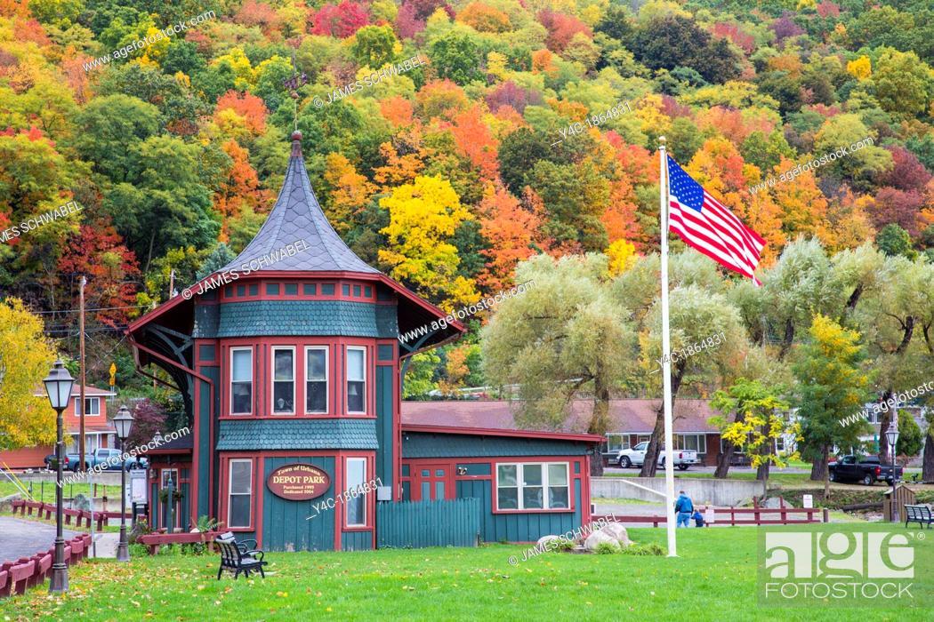 Stock Photo: Historic railroad station in Hammondsport in the Finger Lakes region of New York.