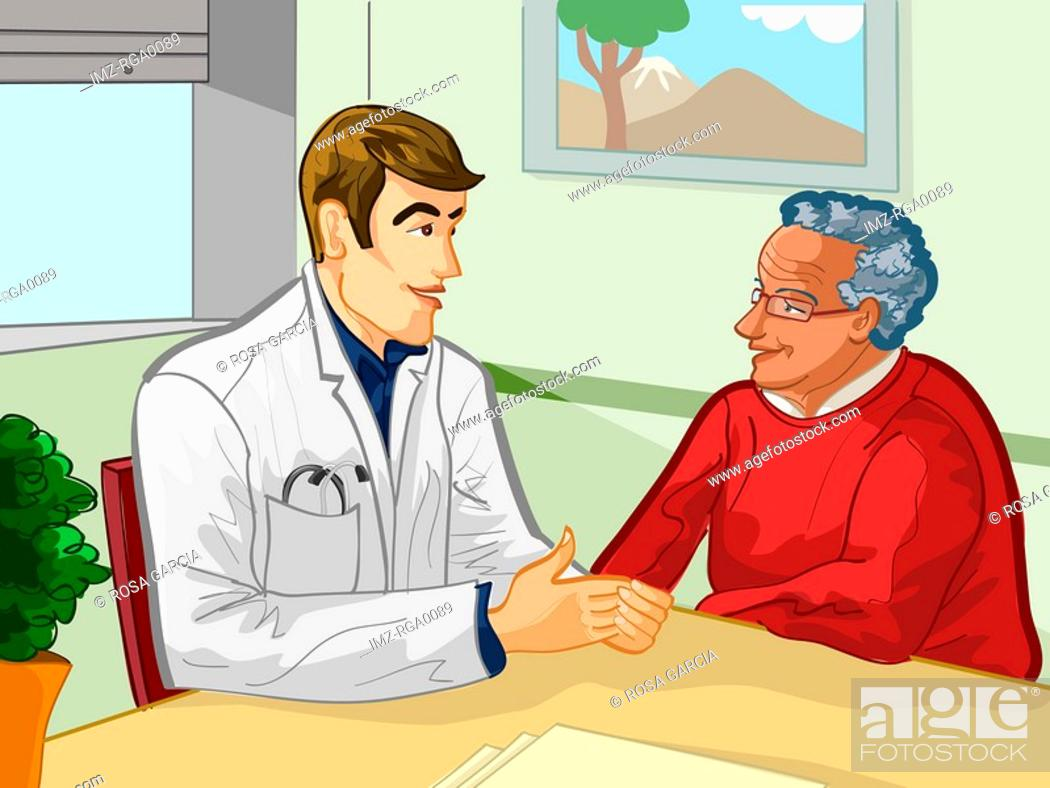 Stock Photo: A young doctor speaking with an elderly patient.