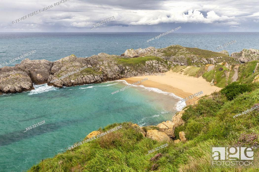 Stock Photo: Somocuevas beach, Liencres, Cantabria, Spain.
