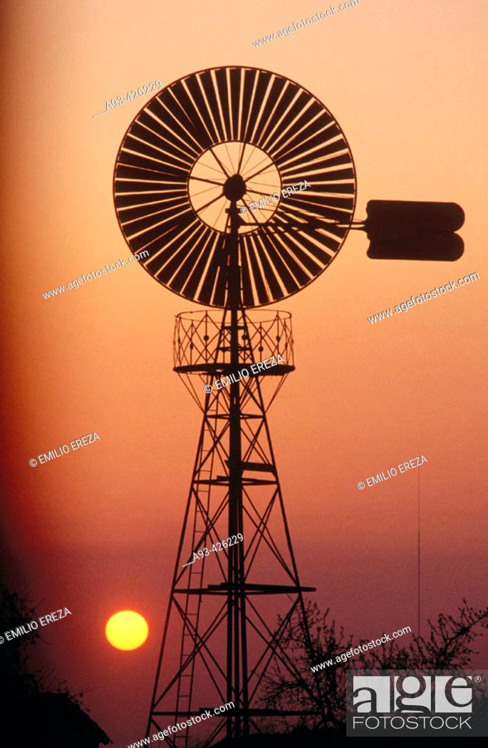 Stock Photo: Windmill for pumping water.