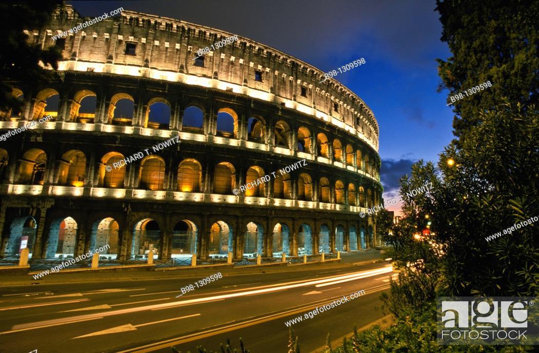 Stock Photo: Rome Italy, Colosseum at dusk.