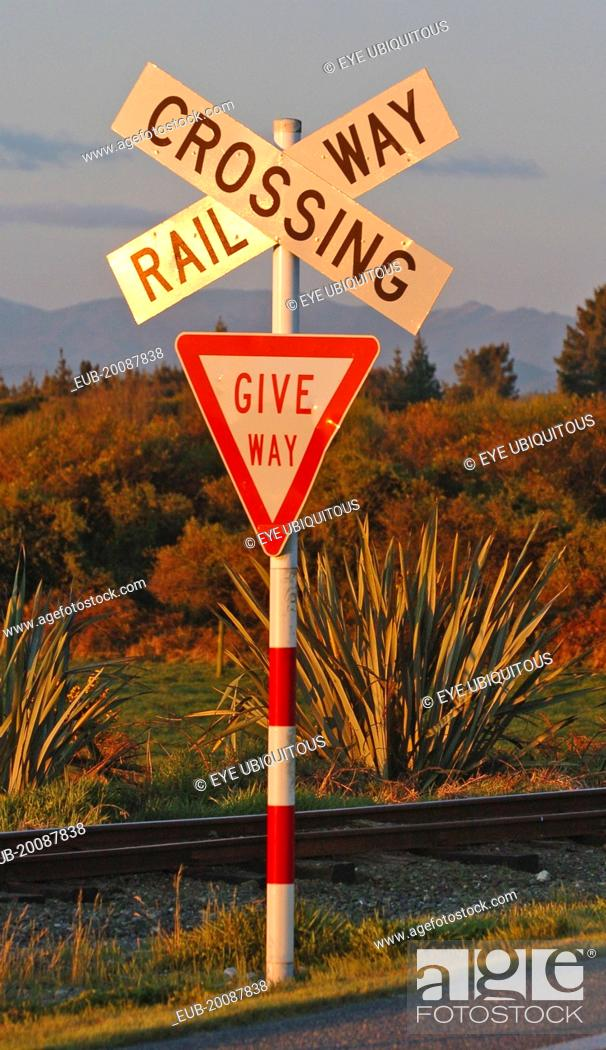 Hokitika, Railway Level Crossing Road Sign On The Western