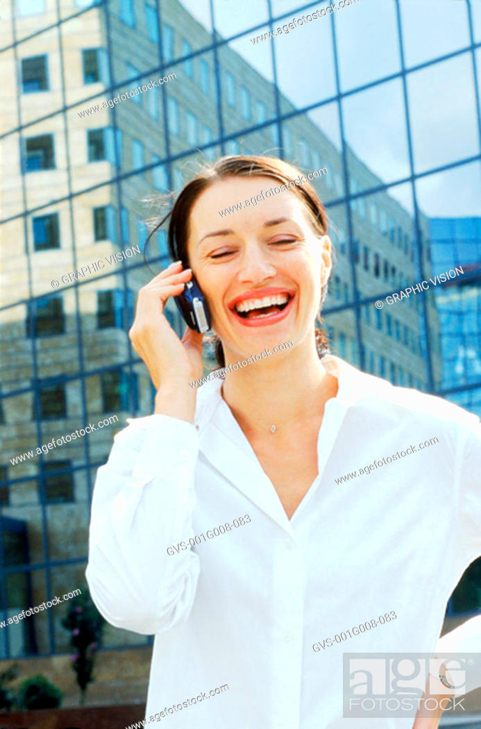 Stock Photo: Young woman on a mobile phone.