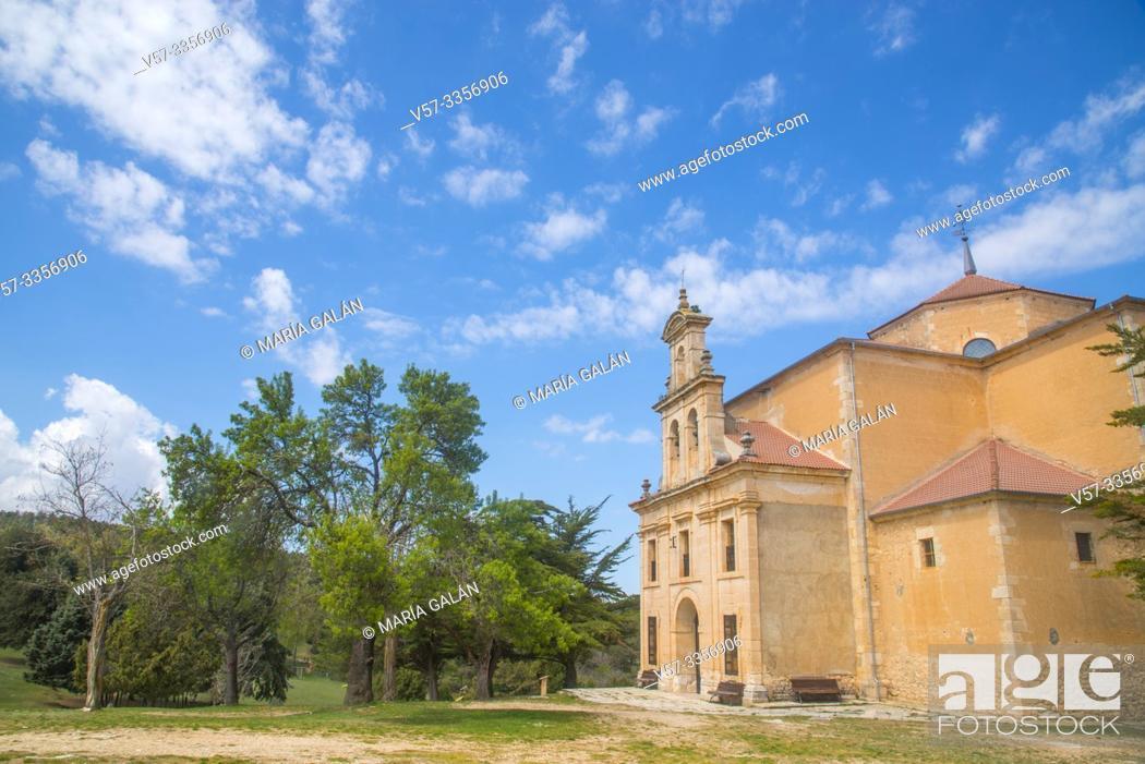 Stock Photo: Juniper forest and church. Moral de Hornuez, Segovia province, Castilla Leon, Spain.