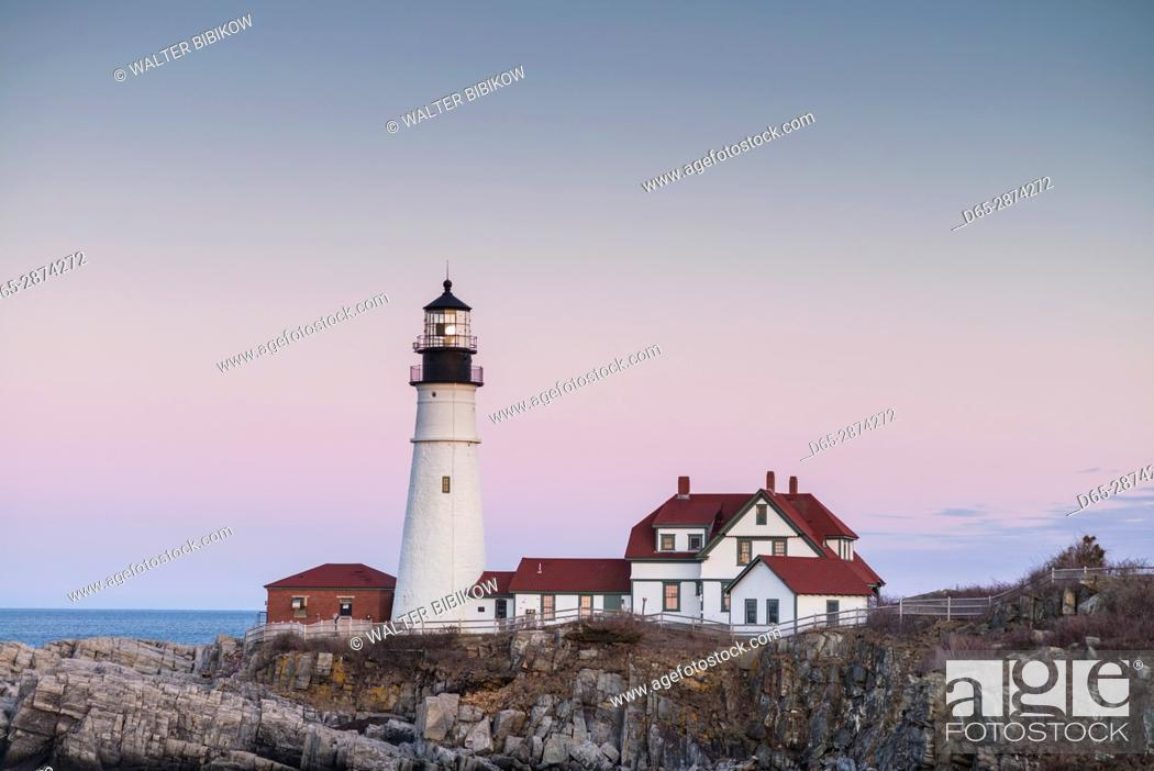Stock Photo: USA, Maine, Portland, Cape Elizabeth, Portland Head Light, lighthouse, dusk.