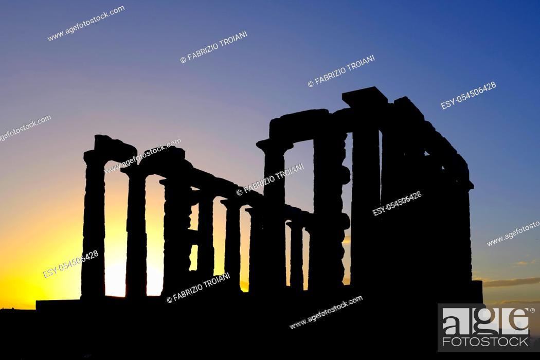 Stock Photo: Silhouette of the Ruins of the Temple of Poseidon at Cape Sounion, Attica Peninsula, Greece.