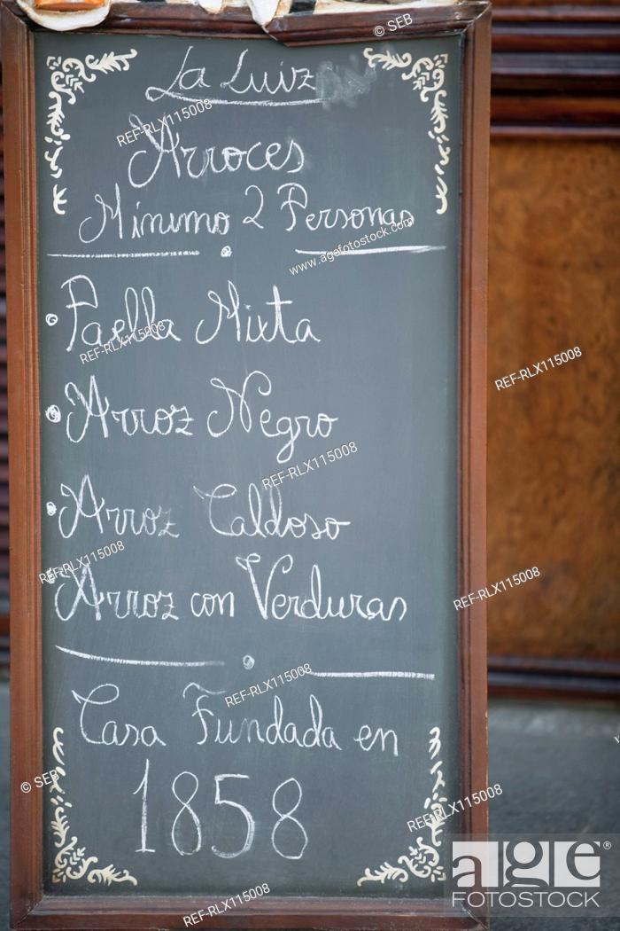 Stock Photo: Close up of blackboard menu outside cafe, Madrid, Spain.
