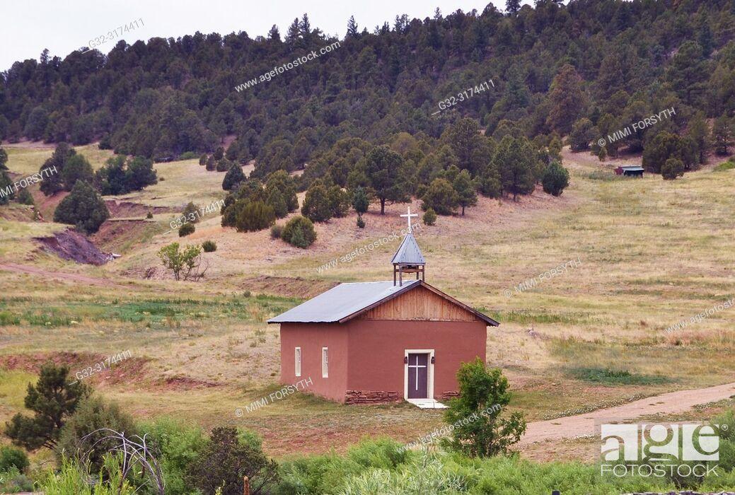 Stock Photo: family chapel, rural New Mexico.