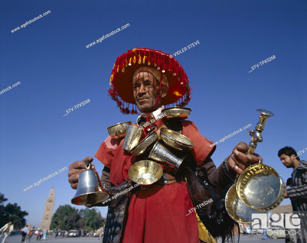 Stock Photo: Holiday, Landmark, Marrakesh, Morocco, Africa, Tourism, Travel, Vacation, Water seller,.
