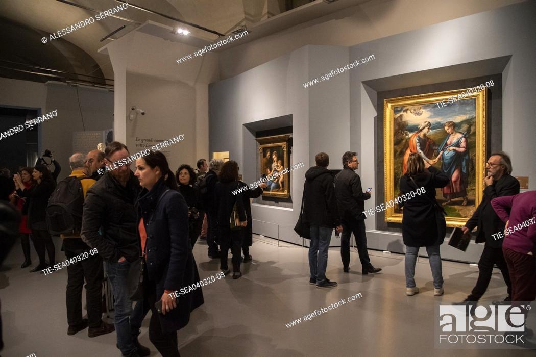 Stock Photo: Opening of the exhibition 'Raffaello 1520 - 1483' at the Scuderie del Quirinale in Rome , ITALY-04-03-2020.