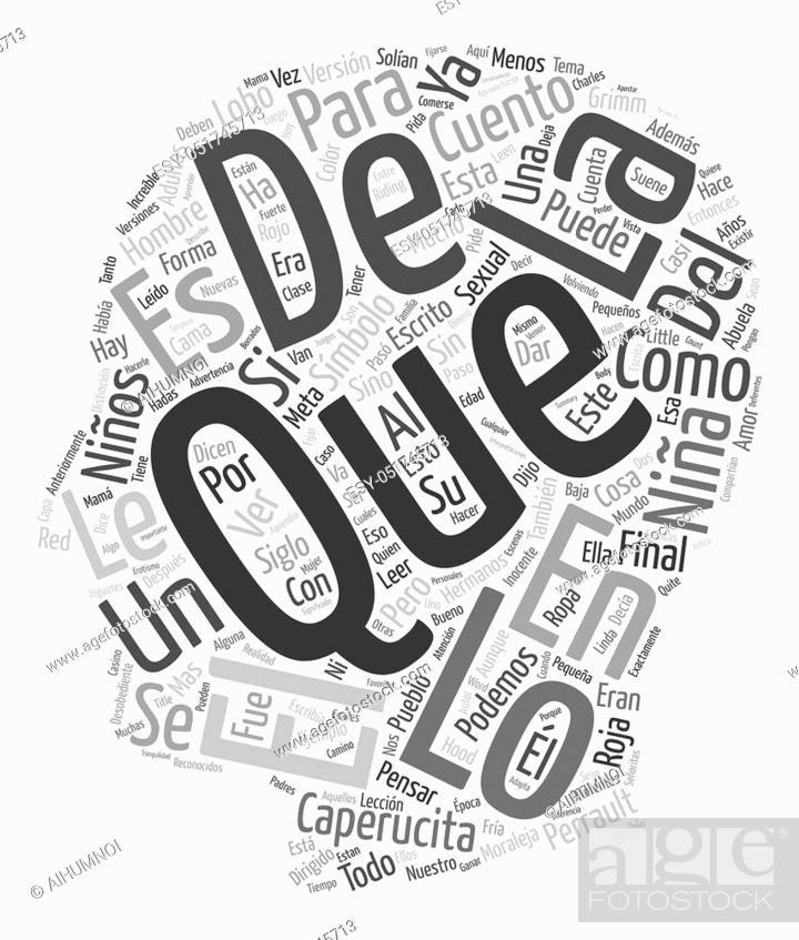 Vector: Caperucita Roja Un Simbolo Sexual text background wordcloud concept.