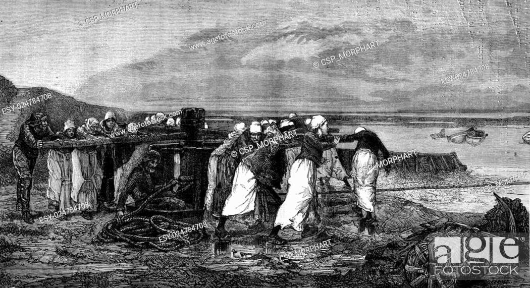 Stock Photo: 1876 Exhibition of Painting, women capstan, Villerville, Calvados, vintage engraving.