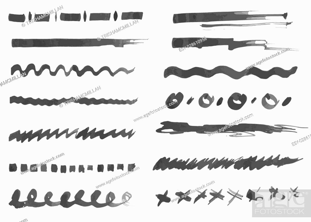 Stock Vector: Ink strokes collection. Set of vector hand drawn brushes elements for your design works.