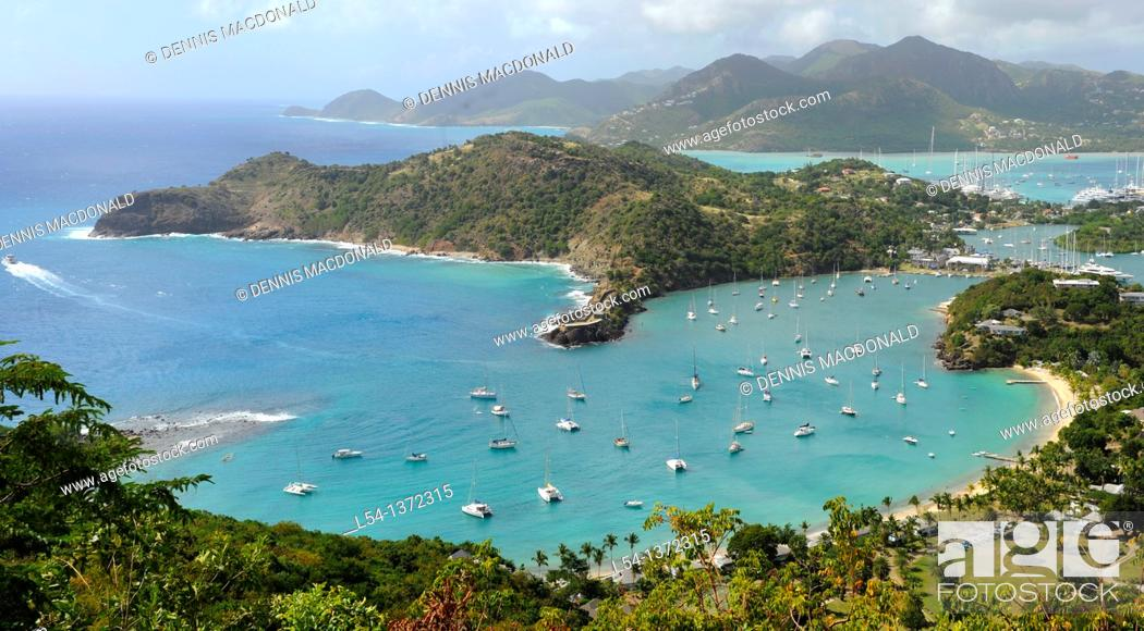 Stock Photo: View of English Harbour from Shirley Heights St  John's Antigua Caribbean Cruise NCL.