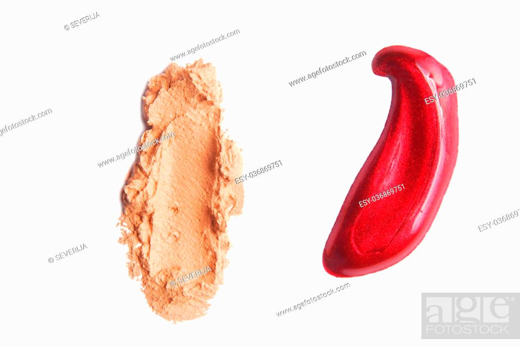 Stock Photo: makeup strokes color isolated on white.