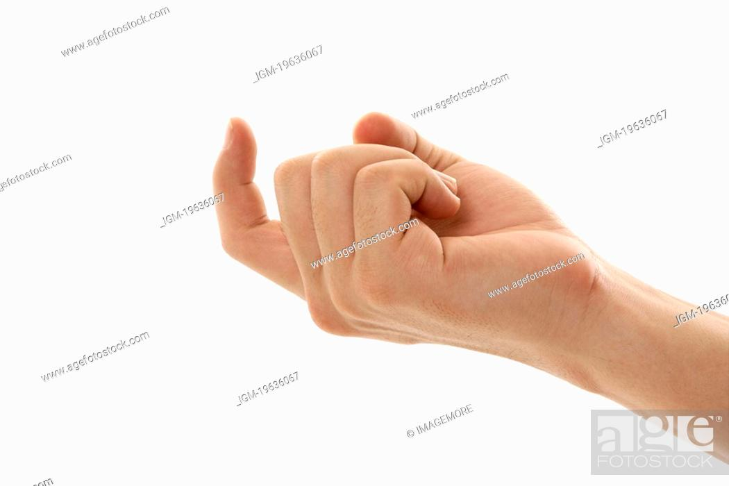 A man's hand signaling a come here sign, Stock Photo ...