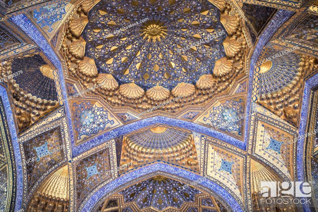 Stock Photo: Ceiling of Ak Saray Mausoleum, Samarkand, Uzbekistan.