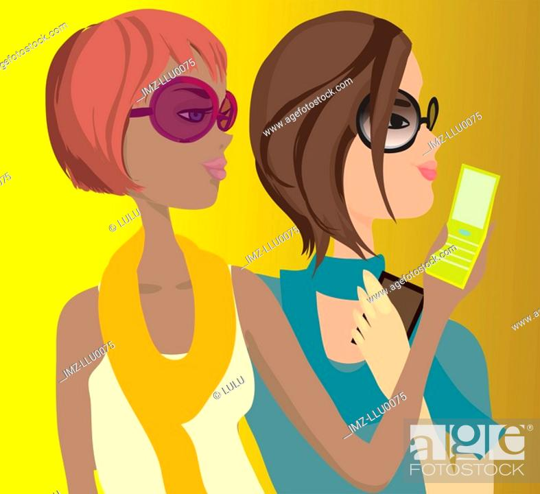 Stock Photo: Two women text messaging on their cell phones.
