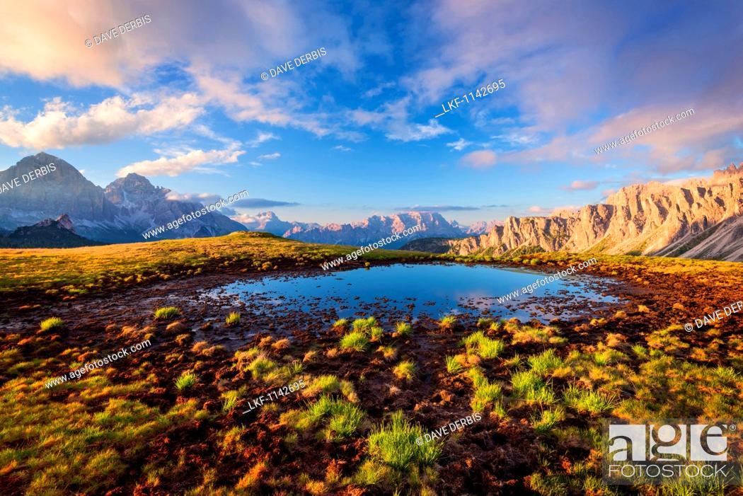 Stock Photo: Passo Giau, Monte Cristallo, Formin, Meadow, Dolomites, Alps, Italy, Europe.