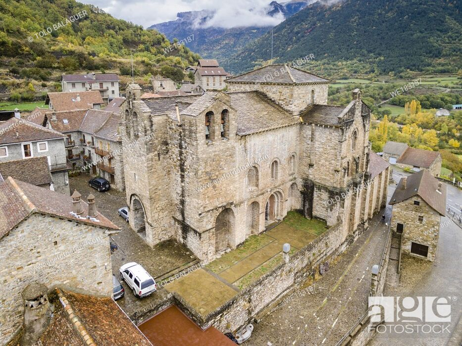 Stock Photo: Monastery of San Pedro de Siresa, Romanesque, 9th-13th century, Siresa, Valley of Hecho, western valleys, Pyrenean mountain range, province of Huesca, Aragon.