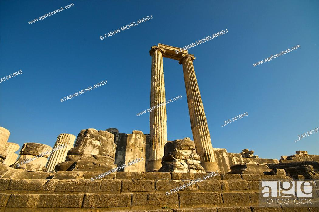 Stock Photo: Standing columns in the Peristasis of The Apollo Temple of Didyma (Didymaion) 10th C. BC-4th C. BC, destroyed by Darius I of Persia in 494 BC and reconstructed.