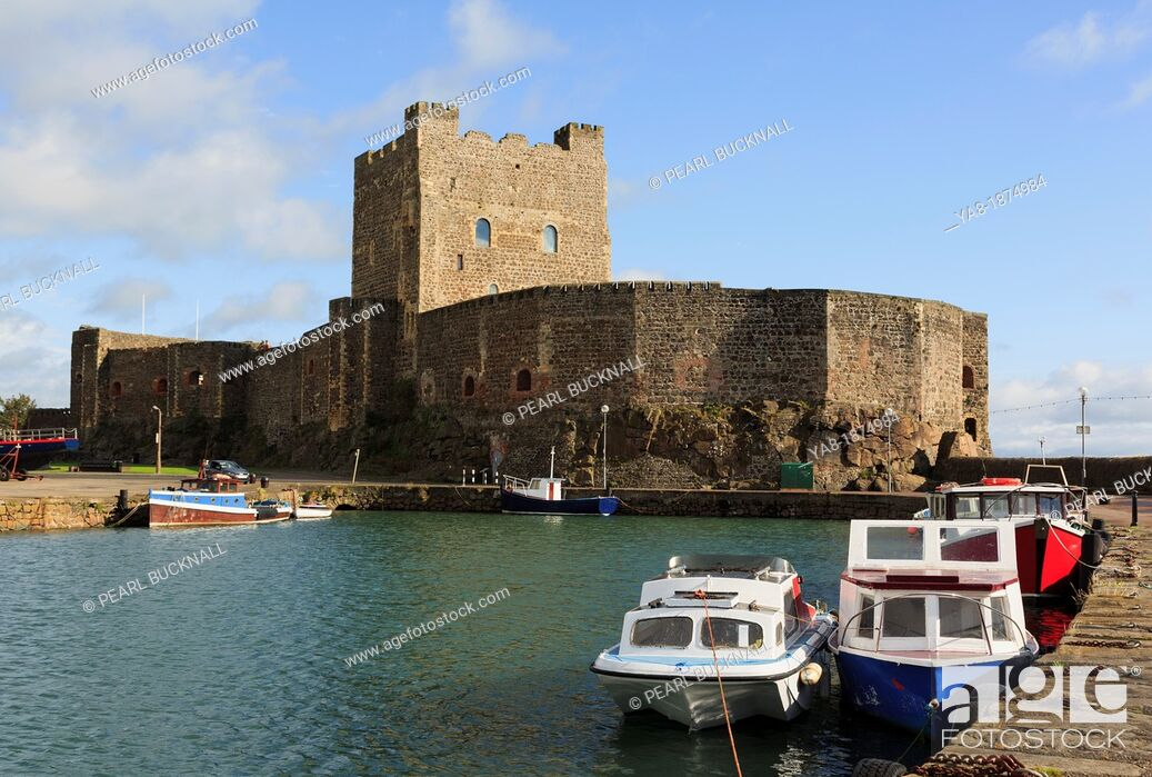 Stock Photo: Carrickfergus, Co Antrim, Northern Ireland, UK, Europe  View across the water to the 12th century Norman castle on Belfast Lough.