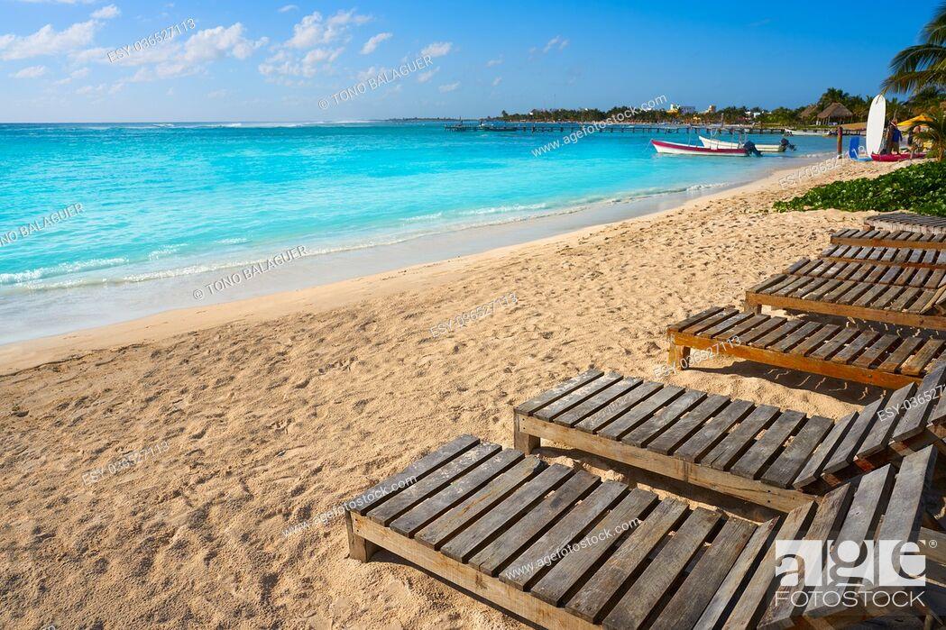 Stock Photo: Mahahual Caribbean beach hammocks in Costa Maya of Mayan Mexico.