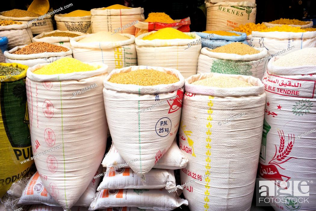 Stock Photo: Sacks of different cereals and legumes on a trade in the medina of Meknes, Morocco, Africa.