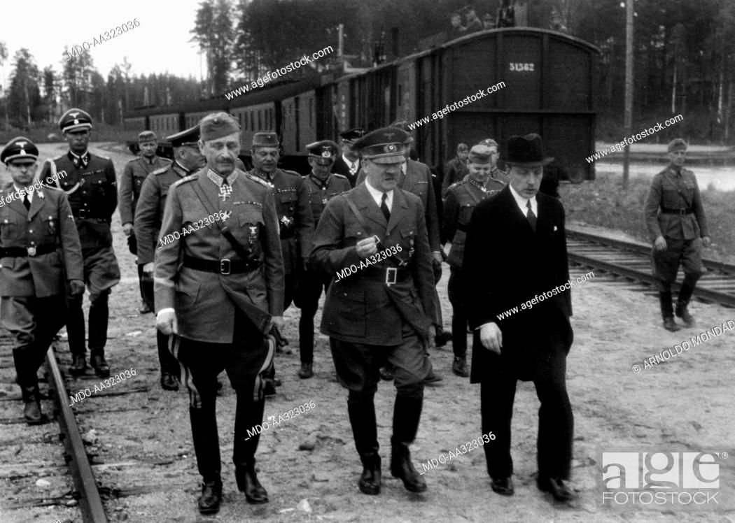 Stock Photo: Adolf Hitler, Risto Ryti and Carl Gustaf Mannerheim. Adolf Hitler with his press agencys chief Otto Dietrich and his field marshal Wilhelm Keitel on his.