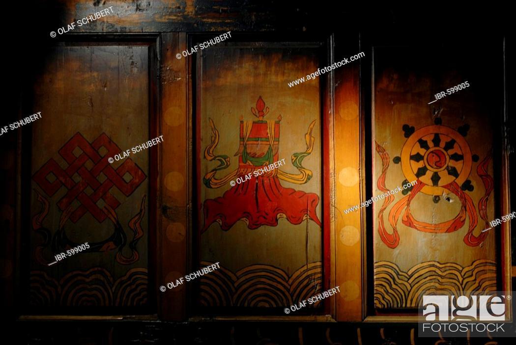 Tibetan Buddhist luck symbols in Shangri La, Zhongdiang (Tibetan