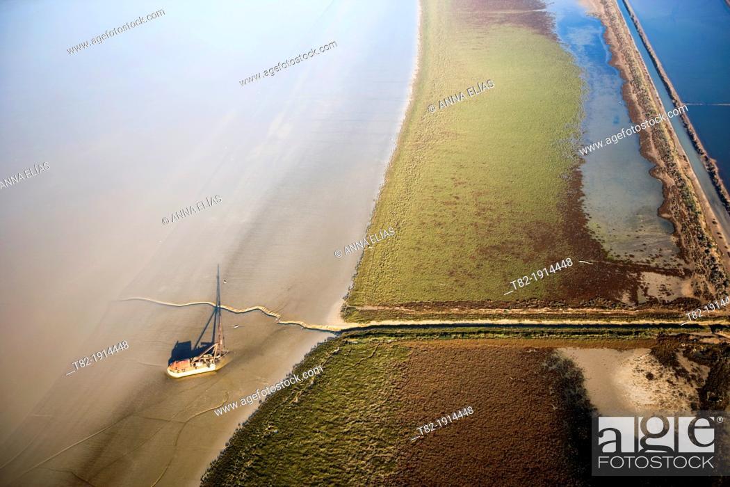 Stock Photo: Aerial view of the river Guadalquivir and Port of Sanlucar de Barrameda, Cadiz, Doñana Natural Park, Spain, Europe.