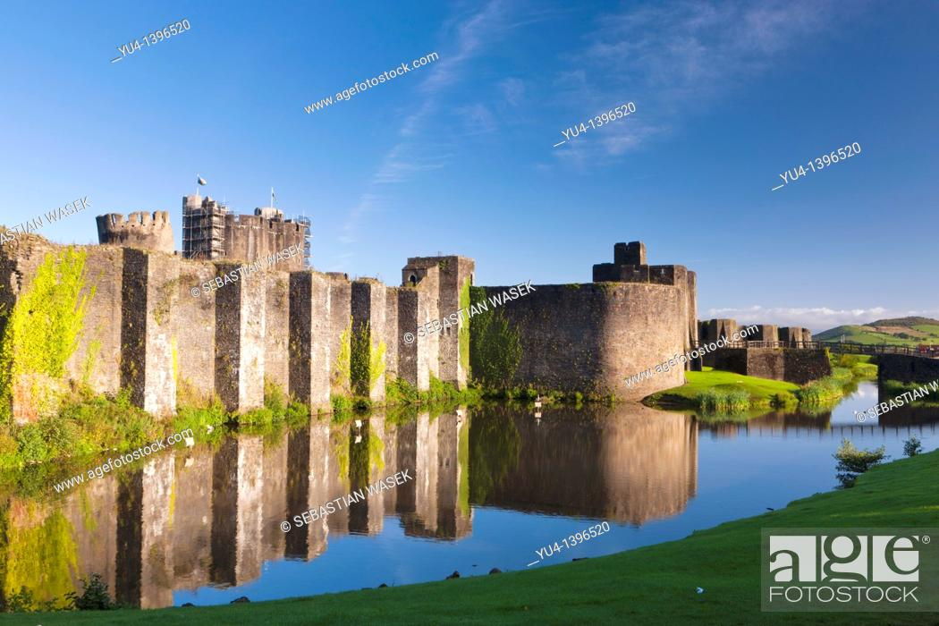 Stock Photo: Caerphilly Castle Welsh: Castell Caerffili is a medieval castle that dominates the centre of the town of Caerphilly in south Wales  It is the largest castle in.