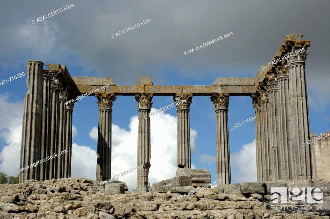 Stock Photo: Roman temple. Evora. Alentejo. Portugal.